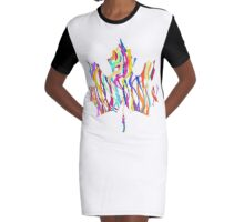 Abstract Maple Leaf Silhouette with Pattern Graphic T-Shirt Dress