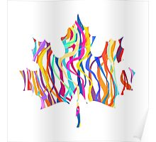 Abstract Maple Leaf Silhouette with Pattern Poster