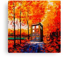 tardis in the woods Canvas Print