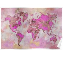 World Map Violet Poster