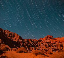 Star Trail Shower Over Red Rock Canyon by Gavin Heffernan