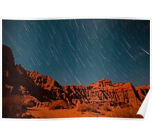 Star Trail Shower Over Red Rock Canyon Poster
