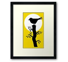 The Swallow on the Tree (Minimalist Art) Silhouette Framed Print