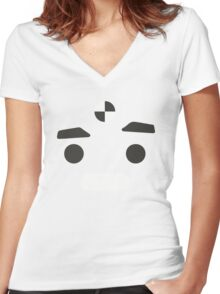 Yellow Test Dummy (Face) Women's Fitted V-Neck T-Shirt