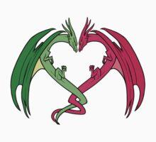 Flying Love Dragons On Blue Background Design Kids Clothes