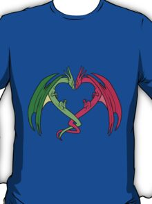 Flying Love Dragons On Blue Background Design T-Shirt