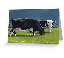 Holstein Dairy Cows Grazing, Oil Pastel Painting, Farm Greeting Card