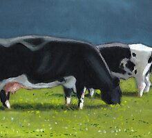Holstein Dairy Cows Grazing, Oil Pastel Painting, Farm by Joyce Geleynse