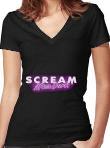 MTV SCREAM AFTER DARK Women's Fitted V-Neck T-Shirt