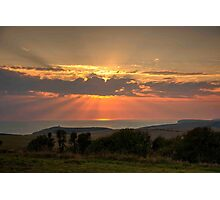 Beachy Head and Downland Sunset Photographic Print