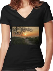 Down To The Sea Women's Fitted V-Neck T-Shirt