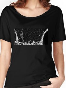 Retro Sci-Fi Art, Rocket on the Moon Women's Relaxed Fit T-Shirt
