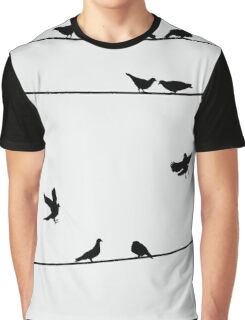 Pigeons on Wires, Silhouette Art Graphic T-Shirt
