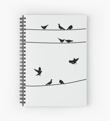 Pigeons on Wires, Silhouette Art Spiral Notebook
