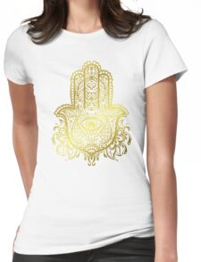 Royal Golden Hamsa Hand Womens Fitted T-Shirt