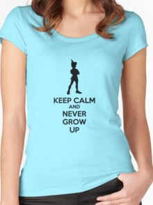 Keep Calm And Never Grow Up Women's Fitted Scoop T-Shirt