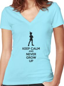 Keep Calm And Never Grow Up Women's Fitted V-Neck T-Shirt