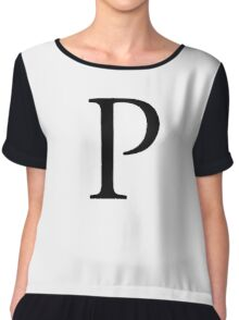 P, Alphabet Letter, Pee, Papa, Peter, A to Z, 16th Letter of Alphabet, Initial, Name, Letters, Tag, Nick Name Chiffon Top