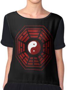 Yin Yang Red Pangua Chiffon Top