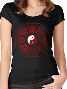 Yin Yang Red Pangua Women's Fitted Scoop T-Shirt