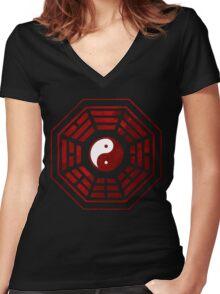 Yin Yang Red Pangua Women's Fitted V-Neck T-Shirt