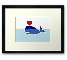 Happy Love Whale, Clipart Framed Print