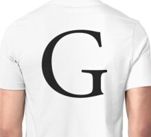 G, Alphabet Letter, Gee, Golf, George, A to Z, 7th Letter of Alphabet, Initial, Name, Letters, Tag, Nick Name Unisex T-Shirt