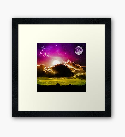 Bright Moon Sky (LS.42) Framed Print