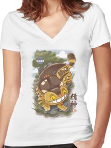 Traditional Nekobasu  Women's Fitted V-Neck T-Shirt