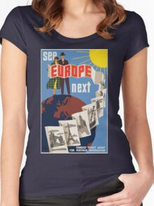 Vintage Travel Poster, Europe Women's Fitted Scoop T-Shirt