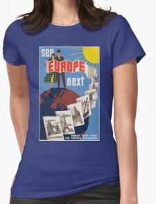 Vintage Travel Poster, Europe Womens Fitted T-Shirt
