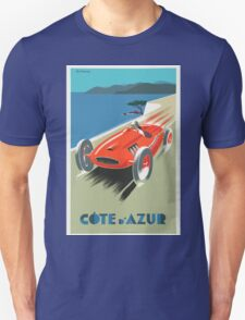 Vintage Travel Poster, French Riviera Race Car Unisex T-Shirt