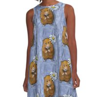 Hamster Holding Daisy Flower, Original Art A-Line Dress