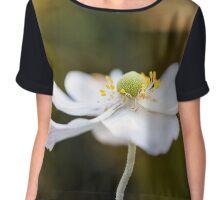 White Anemone Flower Chiffon Top