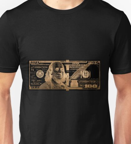One Hundred US Dollar Bill - $100 USD in Gold on Black Unisex T-Shirt