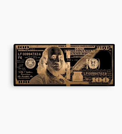 One Hundred US Dollar Bill - $100 USD in Gold on Black Canvas Print