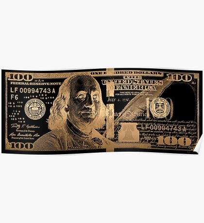 One Hundred US Dollar Bill - $100 USD in Gold on Black Poster