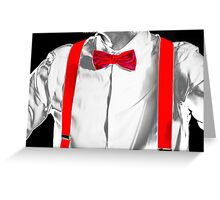 Conceptual costume. Red bow-tie and braces. Jazzbow on white shirt background. Elegance and chic. Greeting Card