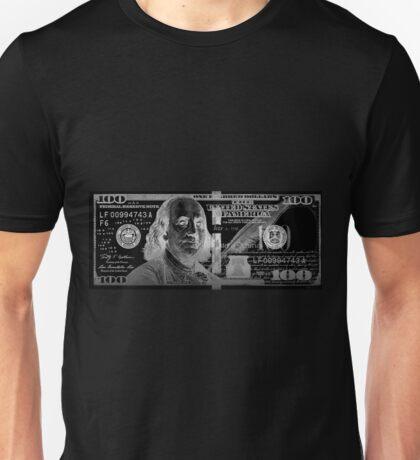 One Hundred US Dollar Bill - $100 USD in Silver on Black Unisex T-Shirt