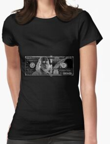 One Hundred US Dollar Bill - $100 USD in Silver on Black Womens Fitted T-Shirt