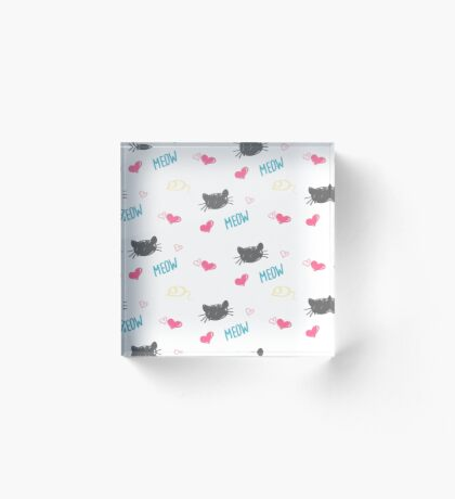 Seamless background of colored Karakul muzzles of cats, hearts drawn by hand. Acrylic Block