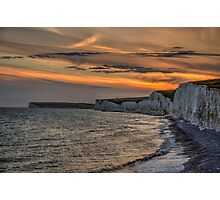 Seven Sisters Coastline at Sunset Photographic Print