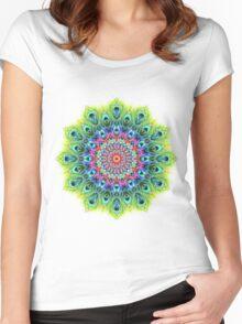 Peacock Mandala Women's Fitted Scoop T-Shirt