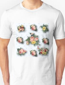 shabby chic,country chic,pale grey,polka dots,white,vintage,flowers,floral,roses,pink,yellow,green Unisex T-Shirt