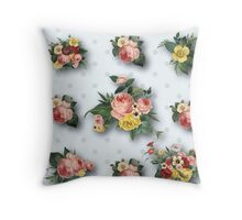 shabby chic,country chic,pale grey,polka dots,white,vintage,flowers,floral,roses,pink,yellow,green Throw Pillow