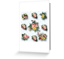 shabby chic,country chic,pale grey,polka dots,white,vintage,flowers,floral,roses,pink,yellow,green Greeting Card