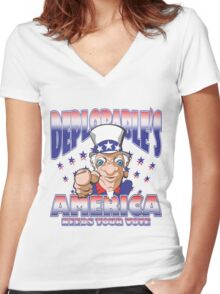 DEPLORABLE'S AMERICA NEEDS YOUR VOTE Women's Fitted V-Neck T-Shirt