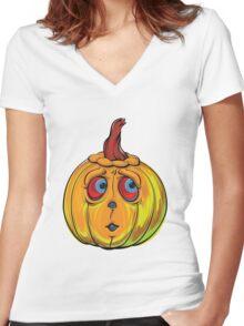 Halloween Pumpkin Cartoon Vector Women's Fitted V-Neck T-Shirt