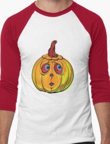 Halloween Pumpkin Cartoon Vector Men's Baseball ¾ T-Shirt