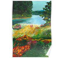 Flower Landscape Palette Knife Painting Poster